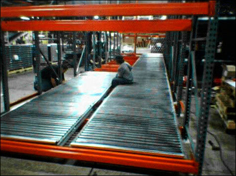 Pallet Flow Installation in Progress in a Warehouse Environment