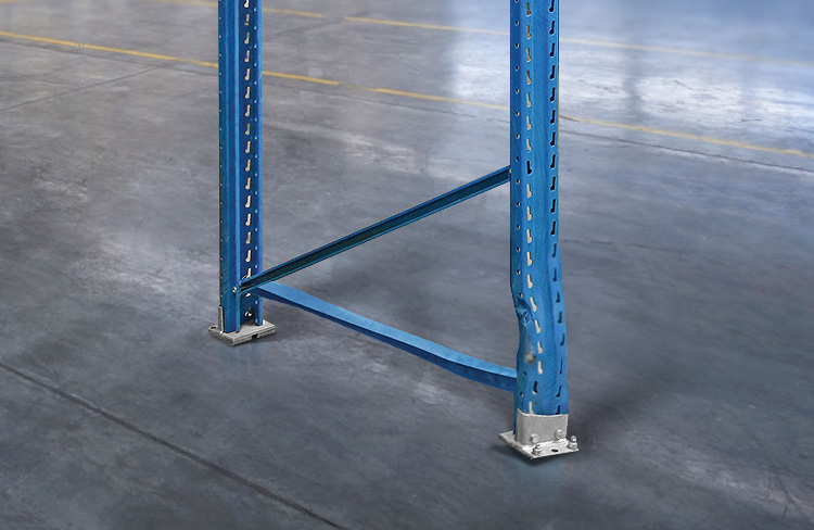 Bent pallet rack leg from forklift damage