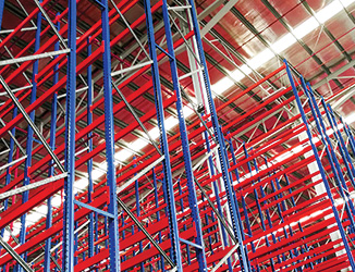 empty pallet racking in a warehouse